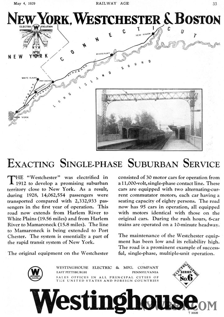 NYW&B Westinghouse Advertisement, 1928