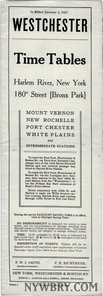 NYW&B Timetable January 1937