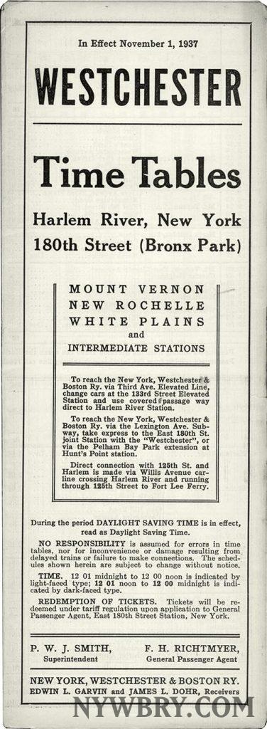 NYW&B Timetable December 1937