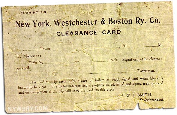 NYWB Clearance Card